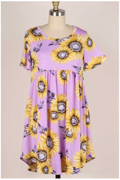 62 PSS-W {Sunflower  Dreams} Lavender Printed Dress PLUS SIZE XL 2X 3X