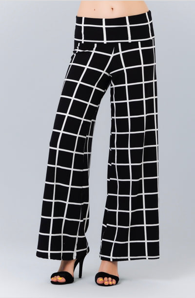 BT-X {All Greek 2 Me} Black/Ivory Print Soft Palazzo Pants