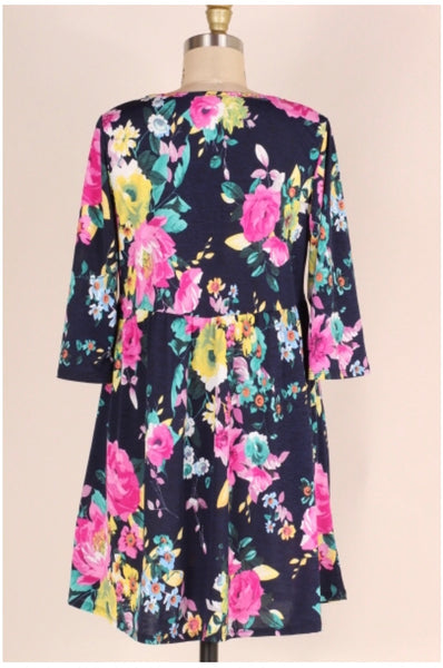 PQ-J {Thinking About You} Navy Floral V-Neck Babydoll Dress