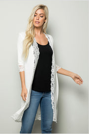 OT-E {Guilty Pleasure} White Cardigan with Lace Detail