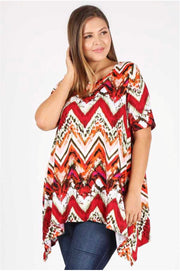 PSS-Q {Once I'm There} Burnt Orange Chevron Print Asymmetrical Tunic Extended Plus