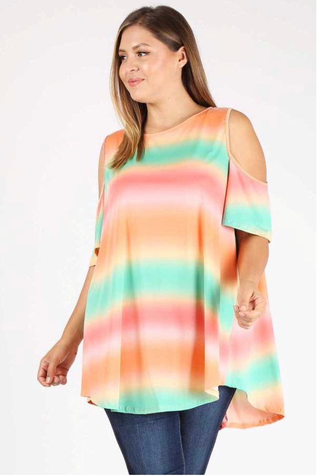 OS-D {Cheer Up} Gradient Tie-Dye Open Shoulder Tunic Extended Plus SALE!!