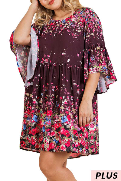 "PQ-K {My Morning Song} ""UMGEE"" Floral Dress Bell Sleeves PLUS SIZE XL 1X 2X"