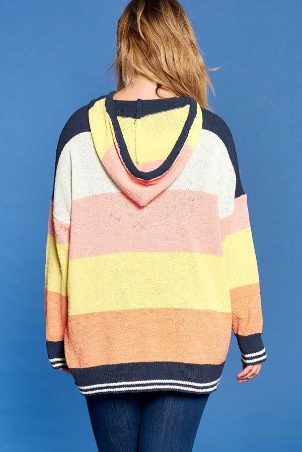 HD-A {Limited Access} Rainbow Stretchy Sweater Hoodie  SALE!!