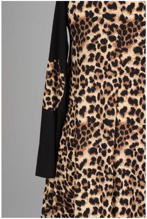 CP-A {Constant Compliments} SALE!! Leopard Print Contrast Dress Extended Plus