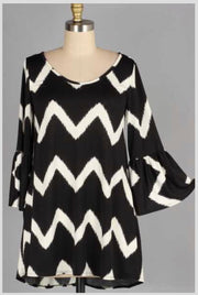 PQ-T {Different Strokes} Black Chevron Tunic with Bell Sleeves