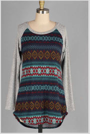 CP-X {Walk Right In} Navy Ethnic Print Knit Contrast Top SALE!