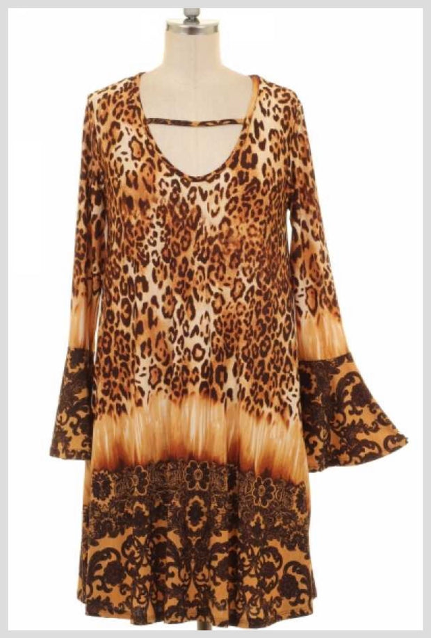 PLS-O {Call Of The Wild} Gold/Brown Animal Print Dress  SALE!!