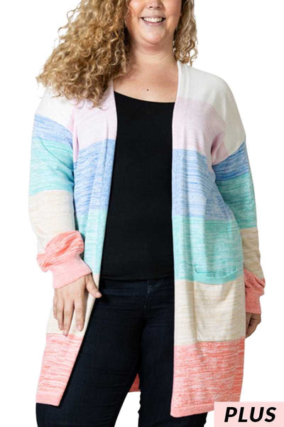 OT-H {All For Fun} Sherbet Combo Soft Cardigan Pockets PLUS SIZE 1X 2X 3X