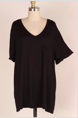 76909e4b01 SSS-F  Comfy Travels  Black V-Neck Top with Pocket Extended Plus