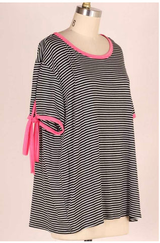 fa7f38d703 PSS-B  Fashion Fix  Black Striped Top with Pink Detail Extended Plus