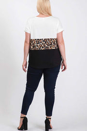 CP-A {In The Jungle} Off-White/Black Leopard Contrast Top EXTENDED PLUS SIZE 1X 2X 3X 4X 5X 6X