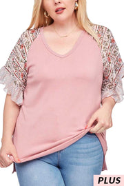 CP-A {Flirty Hints} Mauve V-Neck Top with Floral Sleeves PLUS SIZE 1X 2X 3X