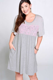 CP-O {Might Be So} Gray Contrast Dress Lilac Crochet Detail PLUS SIZE 1X 2X 3X