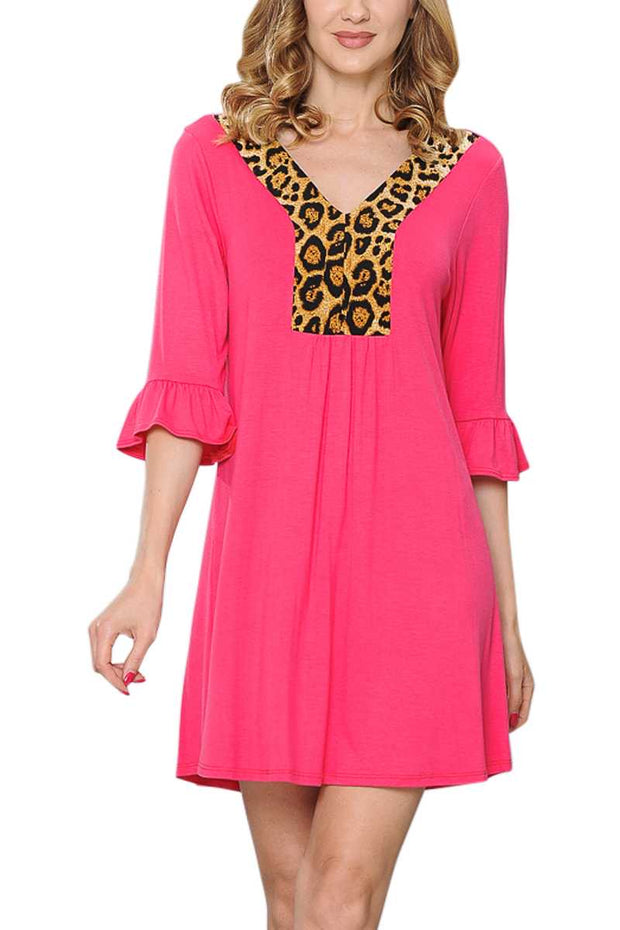 CP-C {Wild About You} Hot Pink Dress with Leopard Contrast PLUS SIZE 1X 2X 3X  (SIZE UP)
