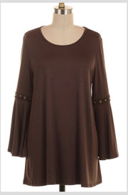 SD-B {Everything You Want} Brown Top with Detailed Bell Sleeves Extended Plus