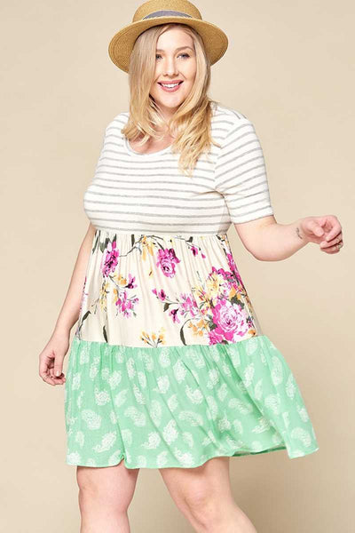 CP-C {Perfect Flare} Mint Floral Striped Contrast Dress PLUS SIZE 1X 2X 3X