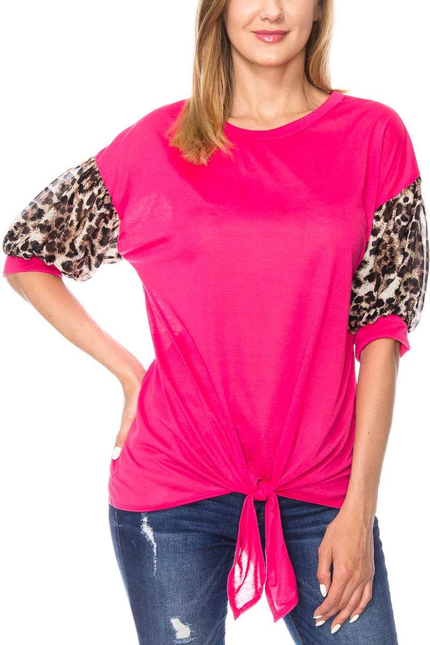CP-A {Oblivious Beauty} Hot Pink Top with Leopard Sleeves PLUS SIZE 1X 2X 3X