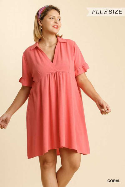 "63 SSS-B {This Is The Time} ""UMGEE"" Coral Dress PLUS SIZE Xl 1XL 2XL"