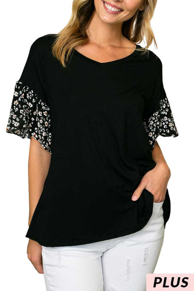 65 CP-A {Behind The Scenes} Black Top with Floral Ruffle Sleeves PLUS SIZE 1X 2X 3X