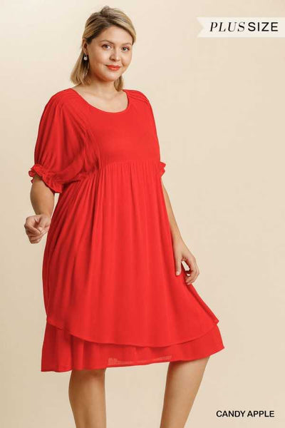 "65 SSS-B {Moving Forward} ""UMGEE"" Red Layered Dress PLUS SIZE XL 1XL 2XL"