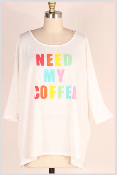 GT-C {Need My Coffee} Oatmeal Short-Sleeve Top