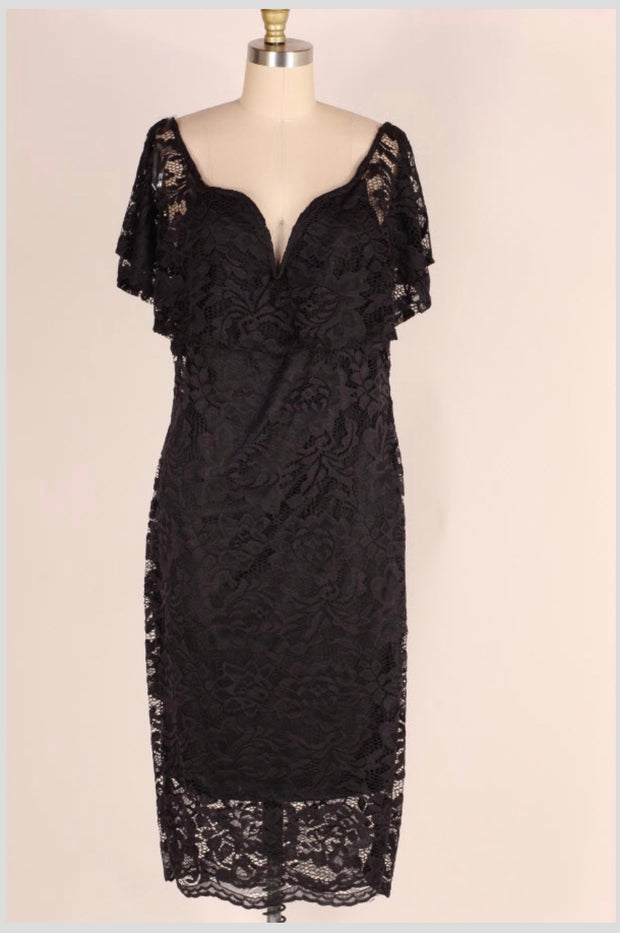 LD-K {Very Elegant} Black V-Neck Lace Party Dress with Lining SALE!