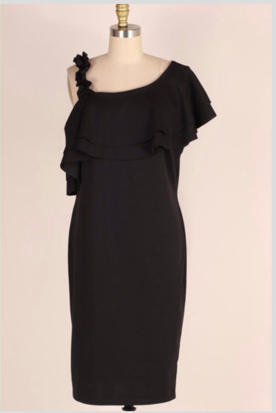 OFF-K {Easy To Love} BLK Off-Shoulder Dress with Ruffle Strap