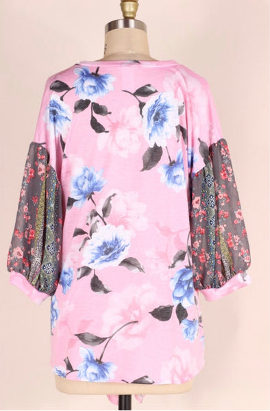 CP-A {For The Best} Pink Floral Top with Bubble Sleeves