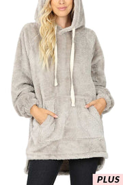 HD-V {The Cozy Touch} SALE!! Light Gray Faux Fur Hoodie