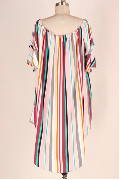 PSS-B {Carefree Beauty} Vertical Striped Hi-Lo Tunic Top