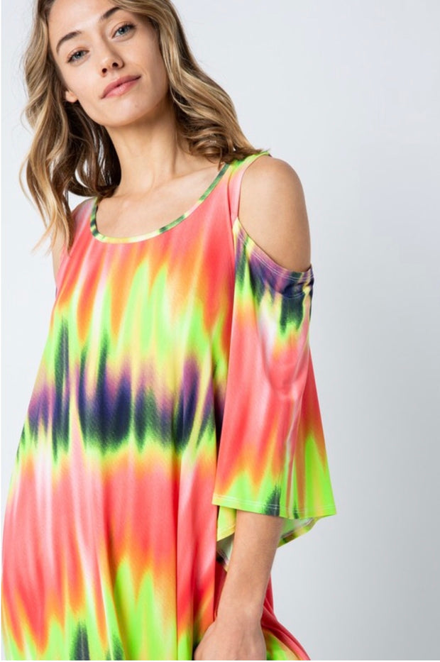 OS-E {Neon Sunset} Asymmetrical Open-Sleeve Tie-Dye Top Extended Plus