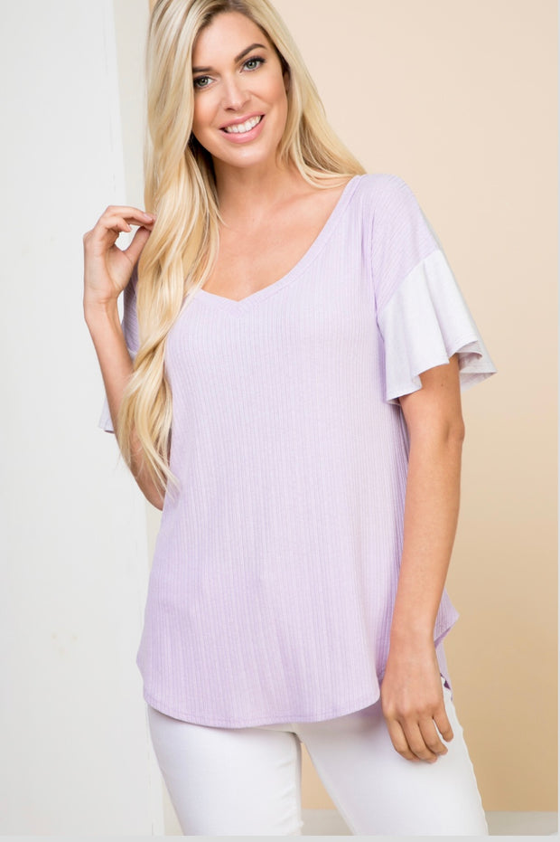CP-A {Lavender Quartz} V-Neck Top with Flared Sleeves