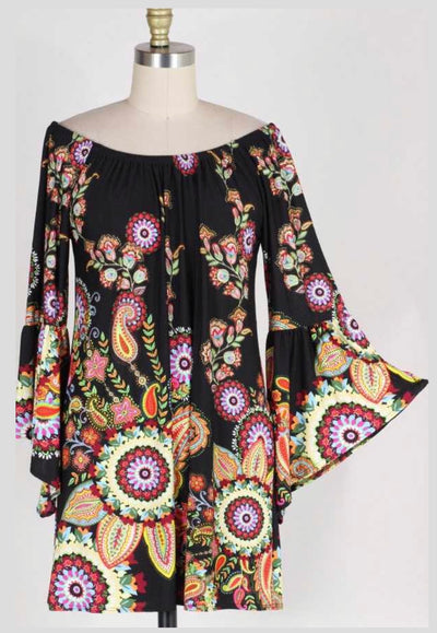PLS-N {Plenty Of Soul} Black Floral Dress with Bell Sleeves Extended Plus