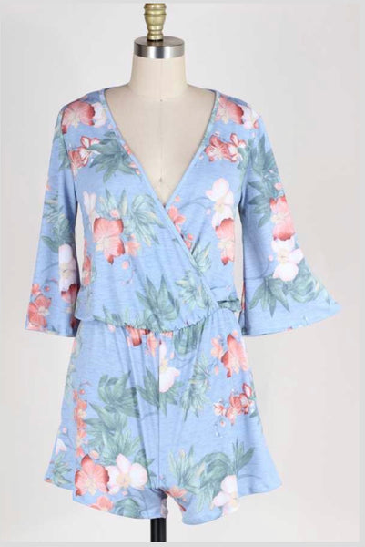RP-B {Sweet Fantasy} Blue Floral Romper Overlap Top Design