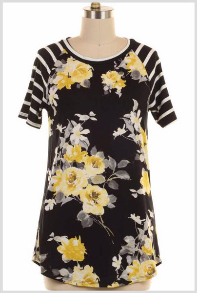 PSS-R {Sunny Afternoon} Yellow Floral Contrast Top