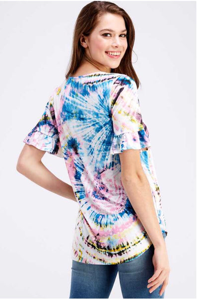PSS-Q {Bora Bora} Tie-Dye Print Top with Detailed V-Neck