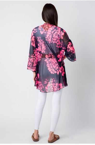 OT-K {Found My Way} Navy/Fuchsia Floral Print Cardigan