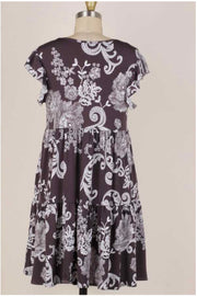 63 PSS-G {Dropping Hints} 3-Tiered Charcoal Paisley Dress PLUS SIZE 1X 2X 3X