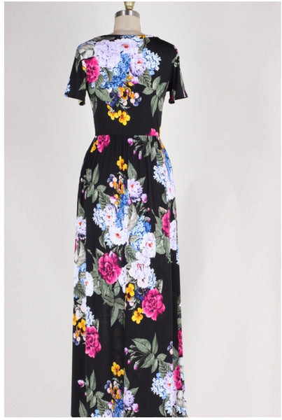 LD-T {Garden Gem} Black Floral Print Maxi Dress with Pockets