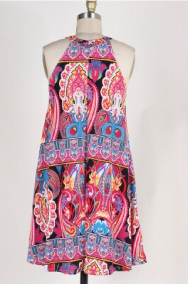 SV-F {Celebrate Life} Fuchsia Multi-Print Dress Pockets
