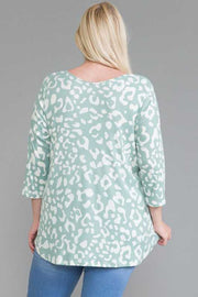 63 PQ-A {You Remind Me Of Something} Sage Leopard Top EXTENDED PLUS SIZE 4X 5X 6X