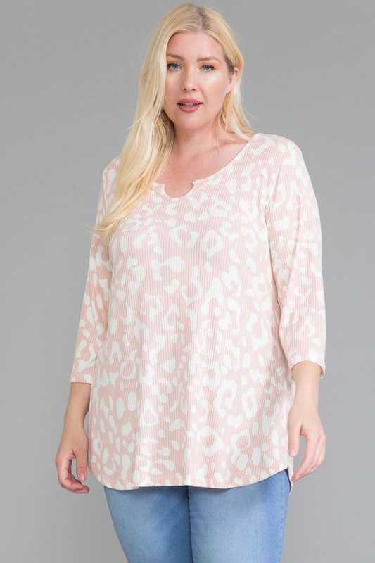 63 PQ-B {You Remind Me Of Something} Blush Leopard Top EXTENDED PLUS SIZE 4X 5X 6X