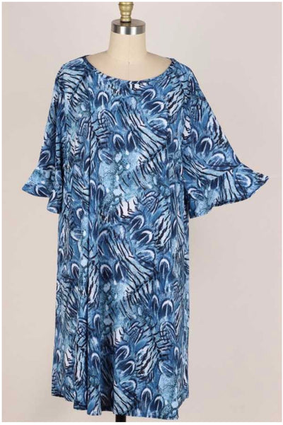 63 PSS-C {Feeling Clever} Blue Printed Dress Ruffle Sleeves with Pockets EXTENDED PLUS SIZE 3X 4X 5X