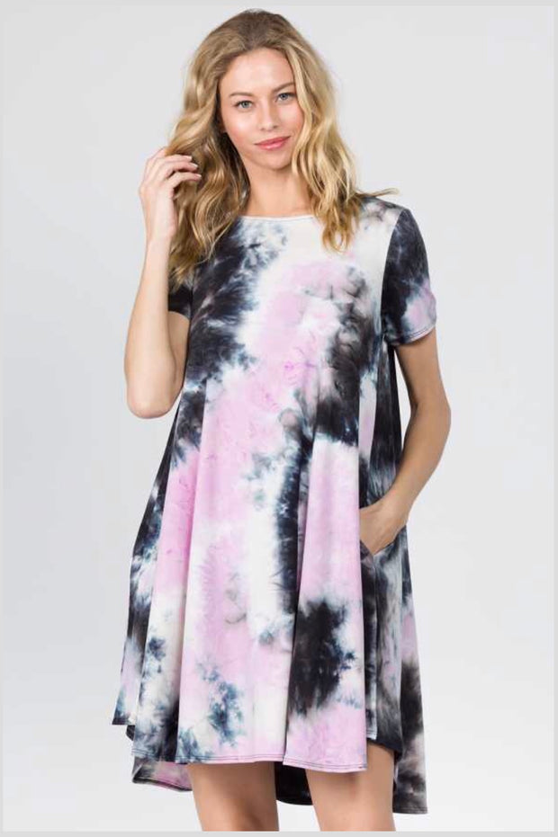PSS-B {Talk About Love} Lilac Tie-Dye Print Dress with Pockets Extended Plus