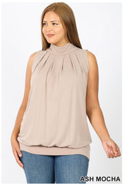 SV-A (Effortless Fun) Ash Mocha Pleated With Banded Hem PLUS SIZE 1X 2X 3X