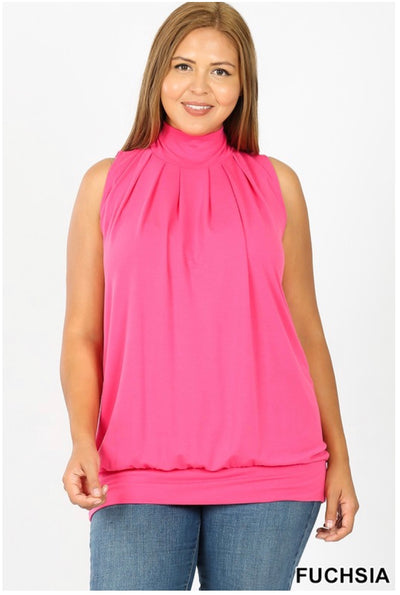 SV-C (Effortless Fun) Fuchsia Pleated With Banded Hem PLUS SIZE 1X 2X 3X