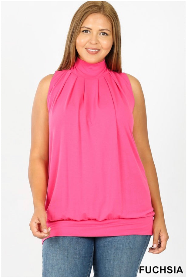SV-C (Effortless Fun) Fuchsia Pleated Tunic With Banded Hem PLUS SIZE 1X 2X 3X SALE!!