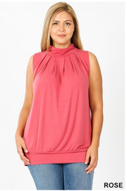 SV-N (Effortless Fun) Rose Pleated Top With Banded Hem PLUS SIZE 1X 2X 3X
