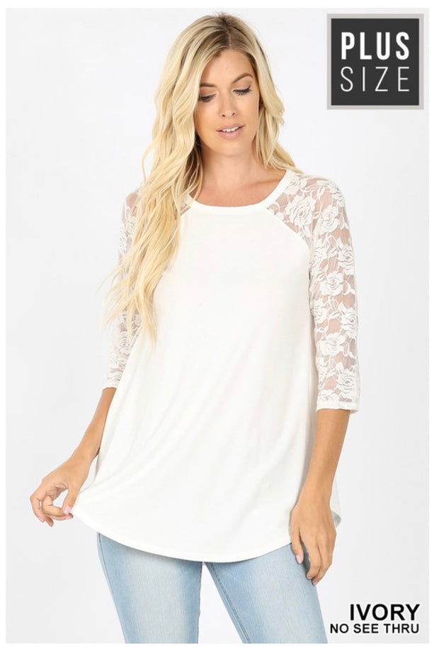 SQ-T (Lace & Faith) SALE!! Ivory Tunic With Lace Sleeves PLUS SIZE 1X 2X 3X